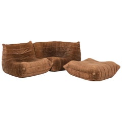 Ligne Roset Togo Fabric Sofa Set Brown 1 Three-Seat 1 Stool