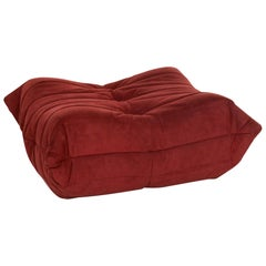 Ligne Roset Togo Fabric Stool Red Wine Red Ottoman