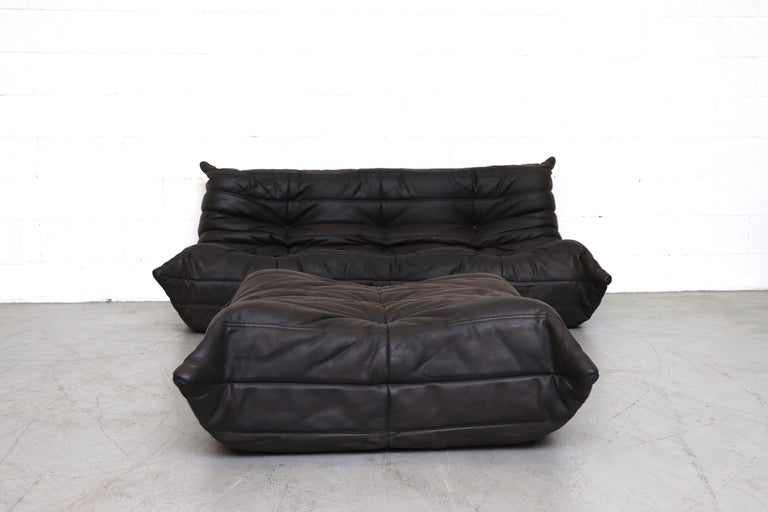Ligne Roset \'TOGO\' Matte Black Leather 3-Seater Sofa with Ottoman at ...