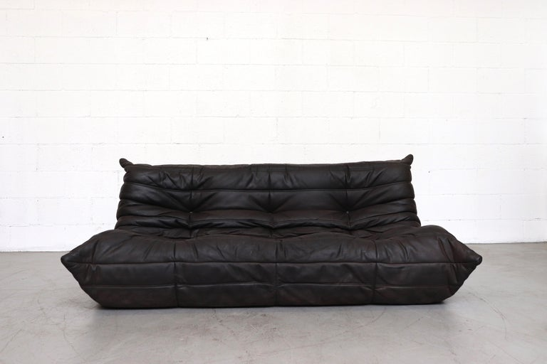 Ligne Roset Togo Matte Black Leather 3 Seater Sofa With Ottoman At