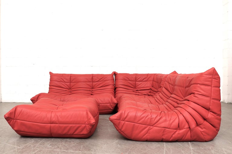 Ligne Roset \'TOGO\' Red Leather Corner Sectional Sofa with Ottoman