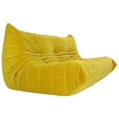 """Ligne Roset """"Togo"""" Sofa Upholstered in Yellow Velvet Fabric, Michel Ducaroy 1973"""