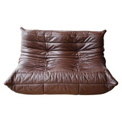 Ligne Roset Togo Two Seater Sofa Brown Leather by Michel Ducaroy