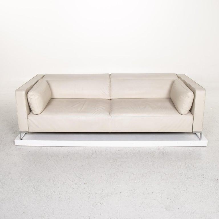 Ligne Roset Urbani Leather Sofa Cream Three-Seat Couch 4
