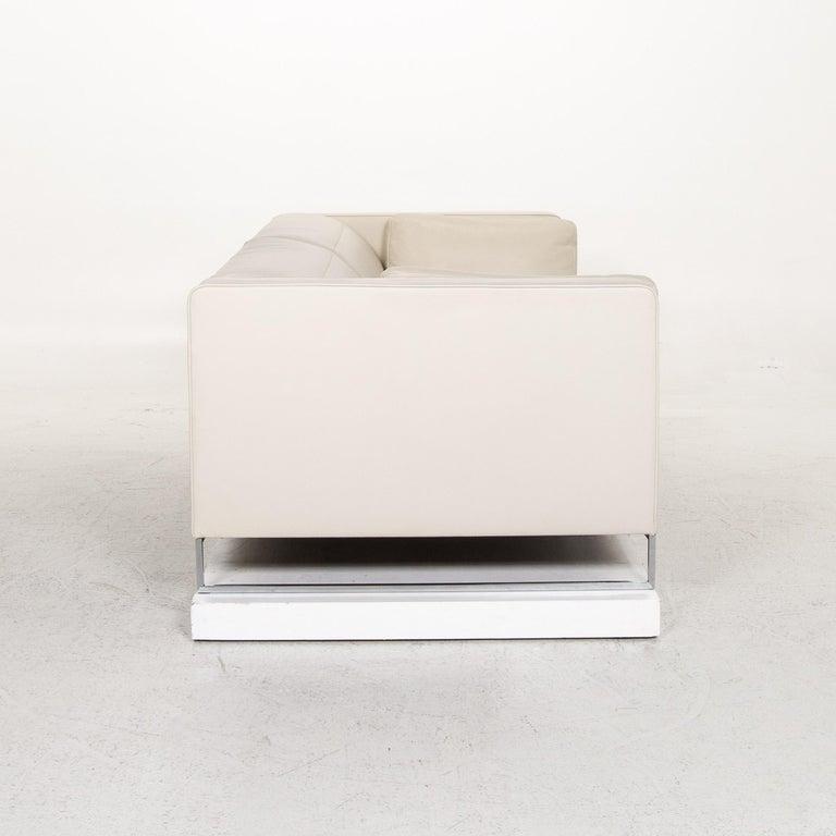 Ligne Roset Urbani Leather Sofa Cream Three-Seat Couch 5