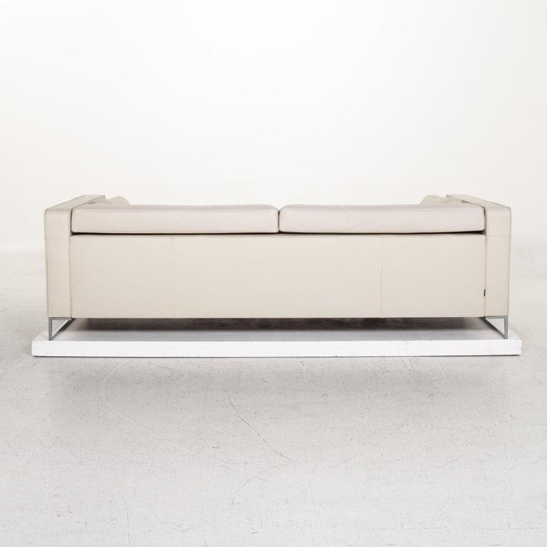 Ligne Roset Urbani Leather Sofa Cream Three-Seat Couch 6