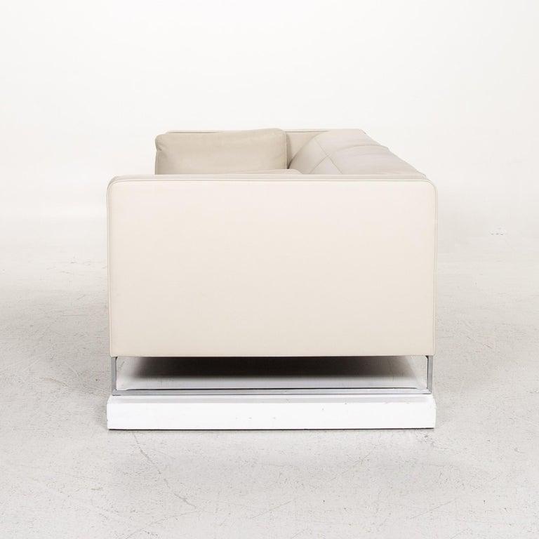 Ligne Roset Urbani Leather Sofa Cream Three-Seat Couch 7