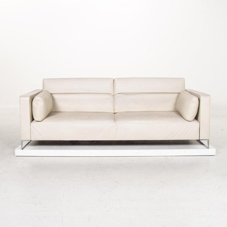 Modern Ligne Roset Urbani Leather Sofa Cream Three-Seat Couch