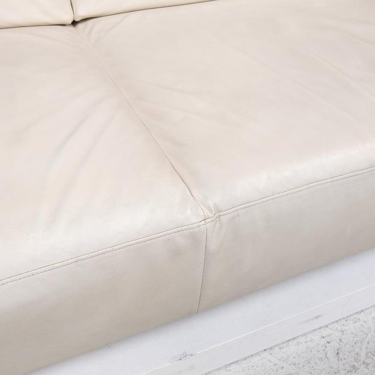 French Ligne Roset Urbani Leather Sofa Cream Three-Seat Couch