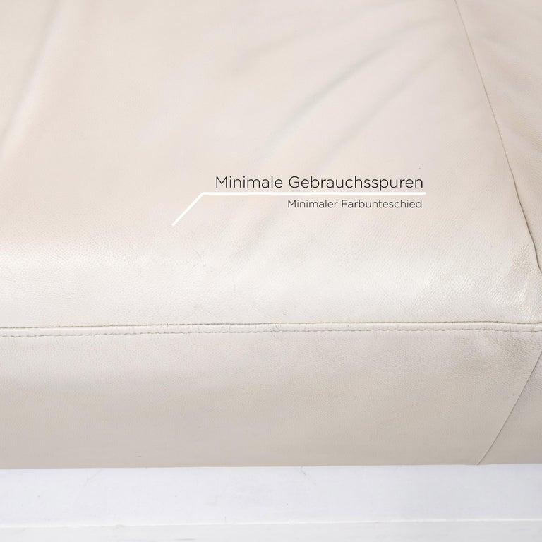 Contemporary Ligne Roset Urbani Leather Sofa Cream Three-Seat Couch
