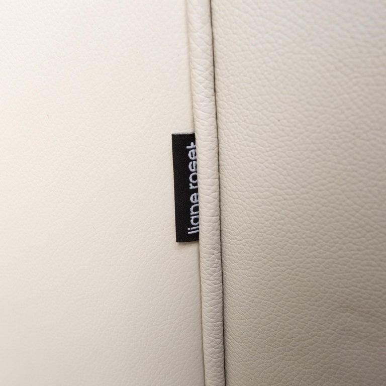 Ligne Roset Urbani Leather Sofa Cream Three-Seat Couch 2