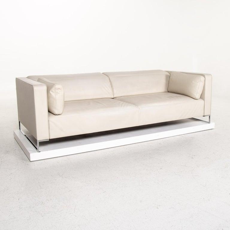 Ligne Roset Urbani Leather Sofa Cream Three-Seat Couch 3