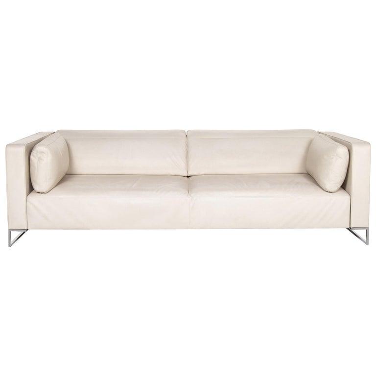 Ligne Roset Urbani Leather Sofa Cream Three-Seat Couch