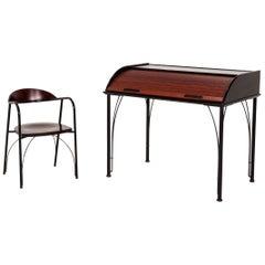 Ligne Roset Wood Secretary Including Chair Brown Black Desk Office Furniture
