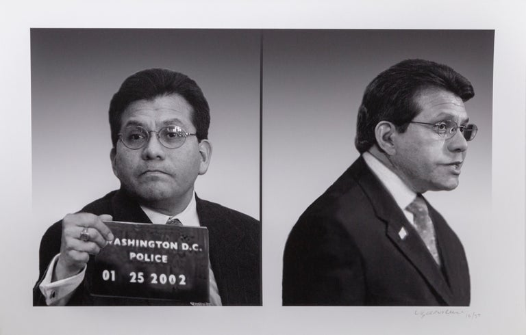 This portfolio of eight prints by the art duo, Ligorano/Reese portrays leaders from the Bush administration, photographed in a mug shot style. The date on the placard they hold is the date the artists feel they betrayed the public trust. This work