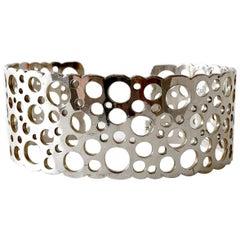 Liisa Vitali Sterling Silver Finnish Modernist Pitsi Ladybird Cuff Bracelet