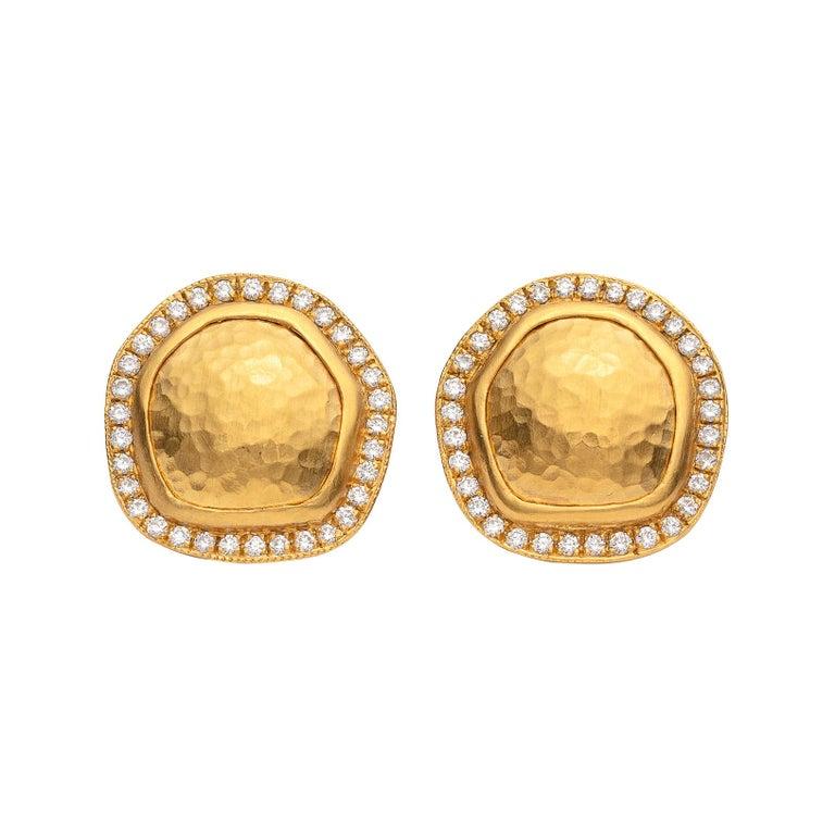 Lika Behar Diamond And 22 Karat Gold Earrings For Sale At 1stdibs