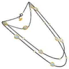 Lika Behar Fiery Faceted Ethiopian Opal 24k Gold Oxidized Silver Long Necklace