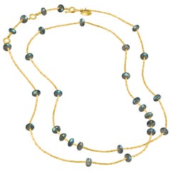 Lika Behar Labradorite Pure 24 Karat Gold Multilength Long Necklace