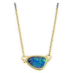 Lika Behar Opal Doublet 24 Karat Gold Oxidized Silver Drop Necklace