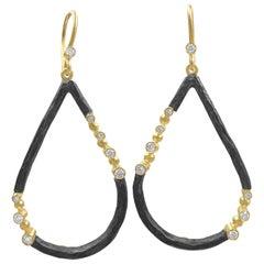 Lika Behar White Diamond 24 Karat Gold Oxidized Silver Open Teardrop Earrings