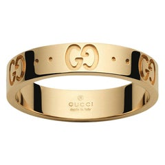 'Like New' Gucci Icon 18 Karat Yellow Gold Band Ring Made in Italy with Box