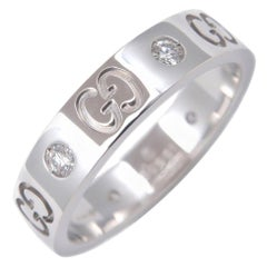 Like New Gucci Icon Diamond White Gold 18 Karat Band Ring with Box