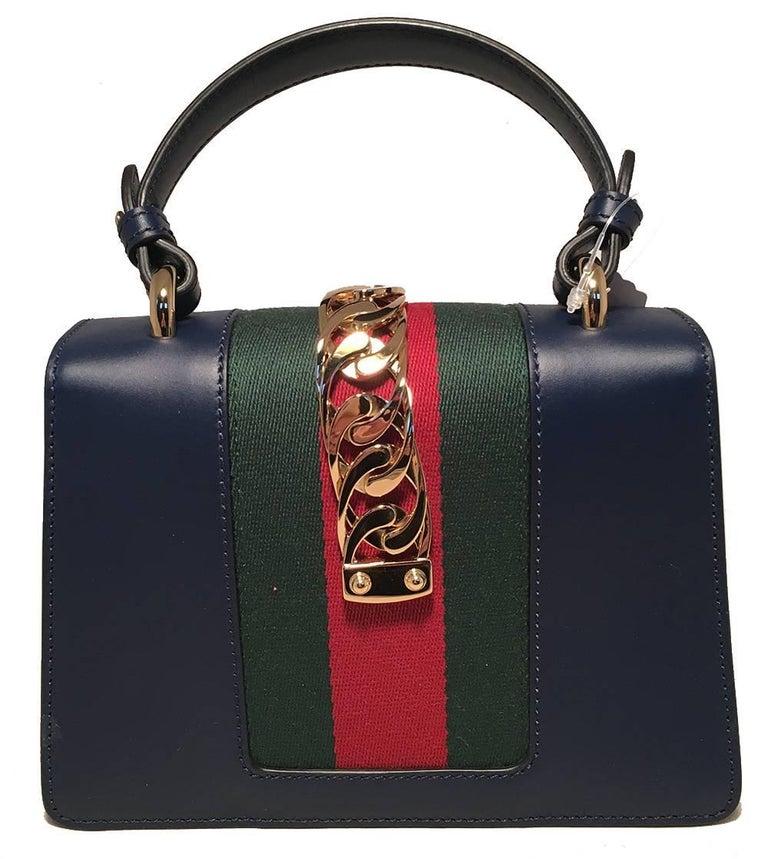 Black Gucci Navy Blue Leather Sylvie Mini Handbag For