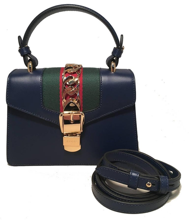 Gucci Navy Blue Leather Sylvie Mini Handbag   In Excellent Condition For Sale In Philadelphia, PA