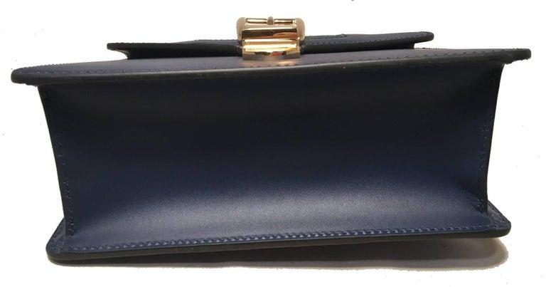 Women's Gucci Navy Blue Leather Sylvie Mini Handbag   For Sale