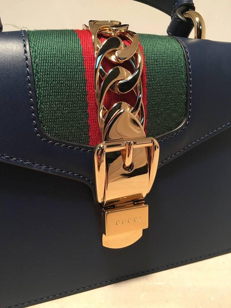 Gucci Navy Blue Leather Sylvie Mini Handbag   For Sale 1