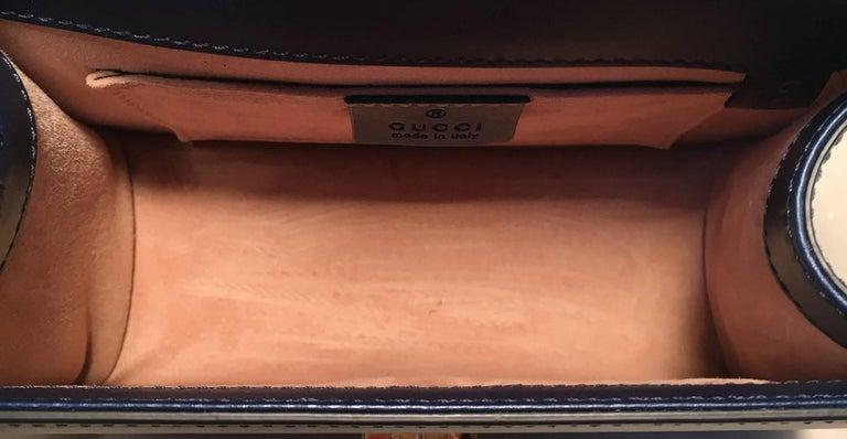 Gucci Navy Blue Leather Sylvie Mini Handbag   For Sale 2