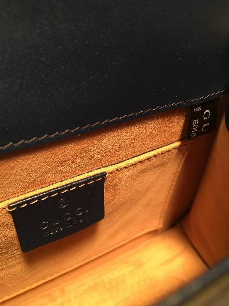 Gucci Navy Blue Leather Sylvie Mini Handbag   For Sale 3