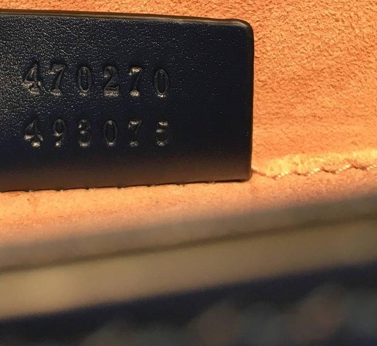 Gucci Navy Blue Leather Sylvie Mini Handbag   For Sale 4