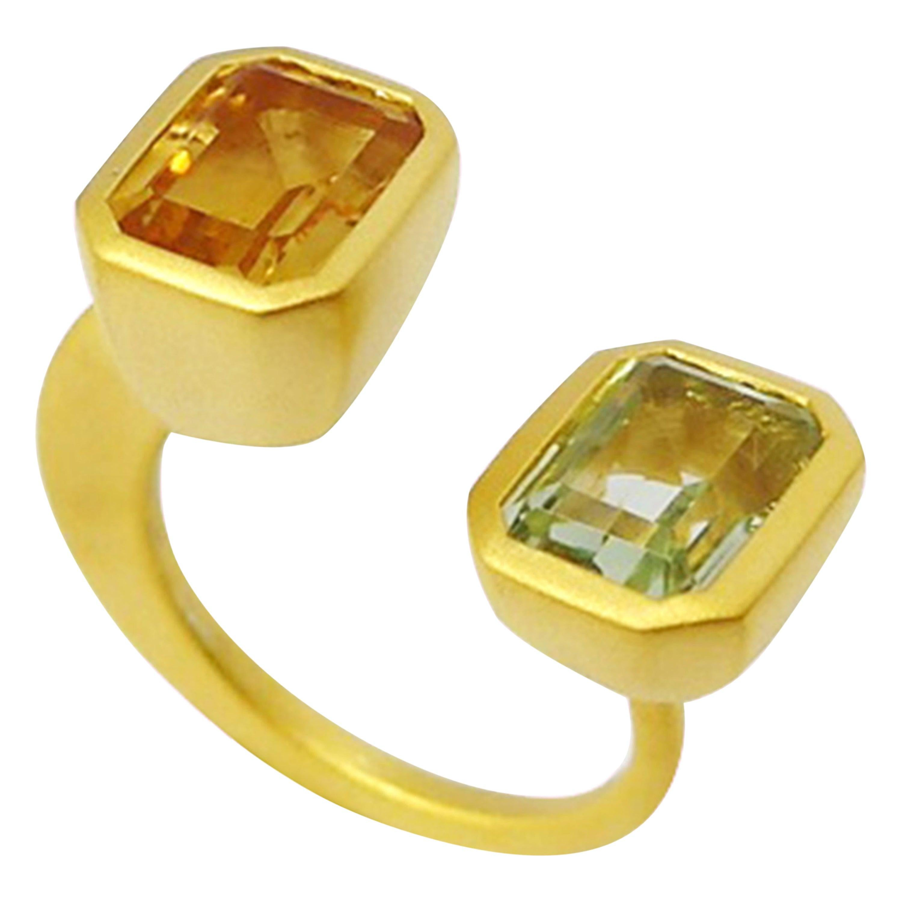 Lila Ring with 1.87 Carat Citrine + Peridot in 18k Matte Gold