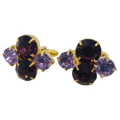 Lilac and Amethyst Austrian Crystal Cuff Links