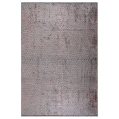 Lilac and Silver Gray Contemporary Chevron Pattern Luxury Soft Semi-Plush Rug