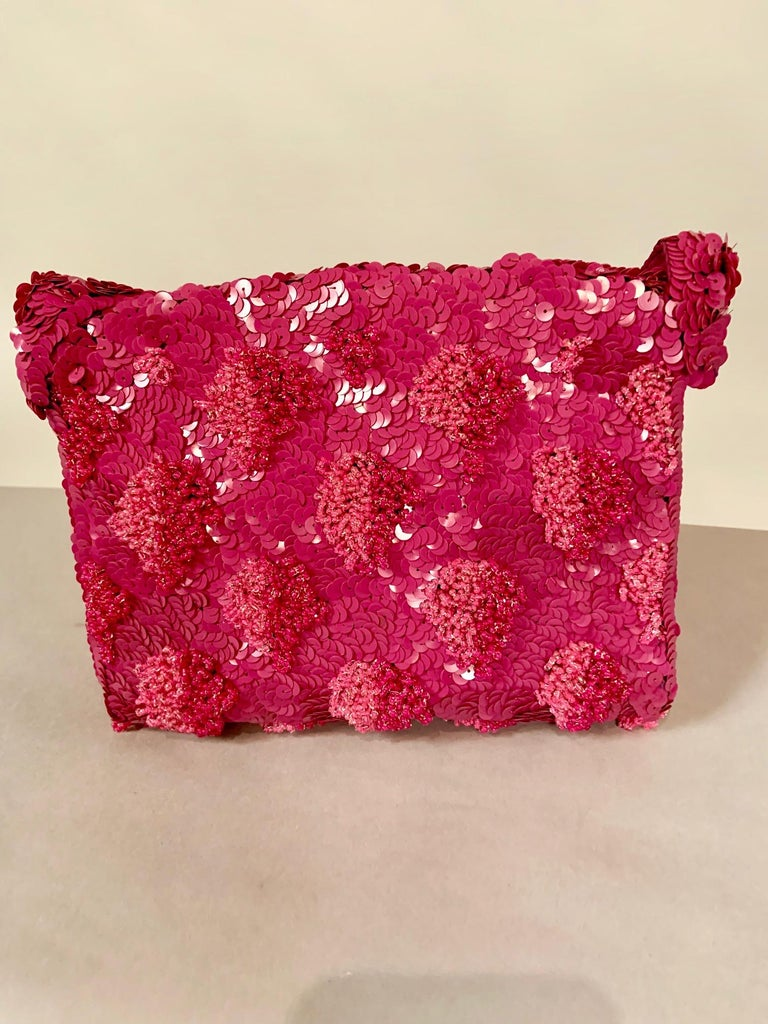 Women's Lilac Beaded Evening Bag with Caviar Beadwork circa 1950 For Sale
