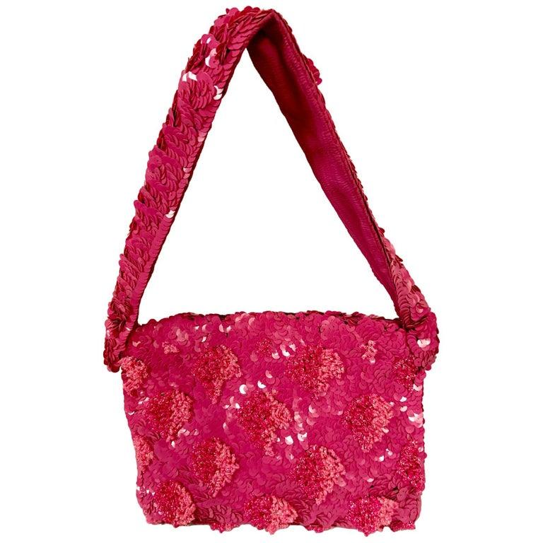 Lilac Beaded Evening Bag with Caviar Beadwork circa 1950 For Sale