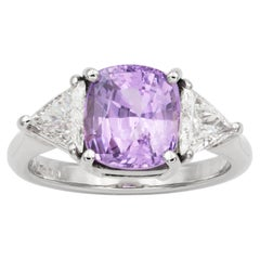 Lilac Colored Sapphire and Diamond Ring