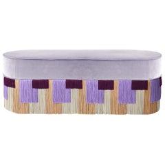 Lilac Couture Geometric Stripe Pouf
