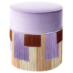 Lilac Couture Geometric Stripe Round Pouf