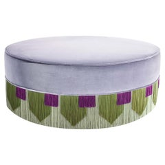 Lilac Couture Geometric Tie Pouf