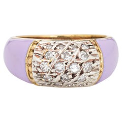 Lilac Enamel Diamond Ring Vintage 18k Yellow Gold Band Estate Jewelry