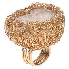 Lilac Fluorite in Yellow Gold Statement Cocktail Ring by Sheila Westera London
