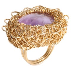 Lilac to Purple Polished Amethyst Gold Statement Cocktail Ring by Sheila Westera