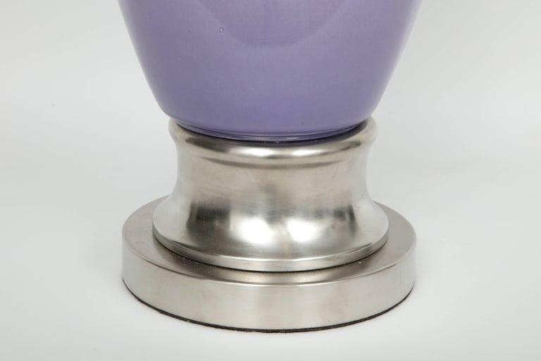 Mid-Century Modern Lilac/Sky Blue Ombre Glaze Lamps For Sale