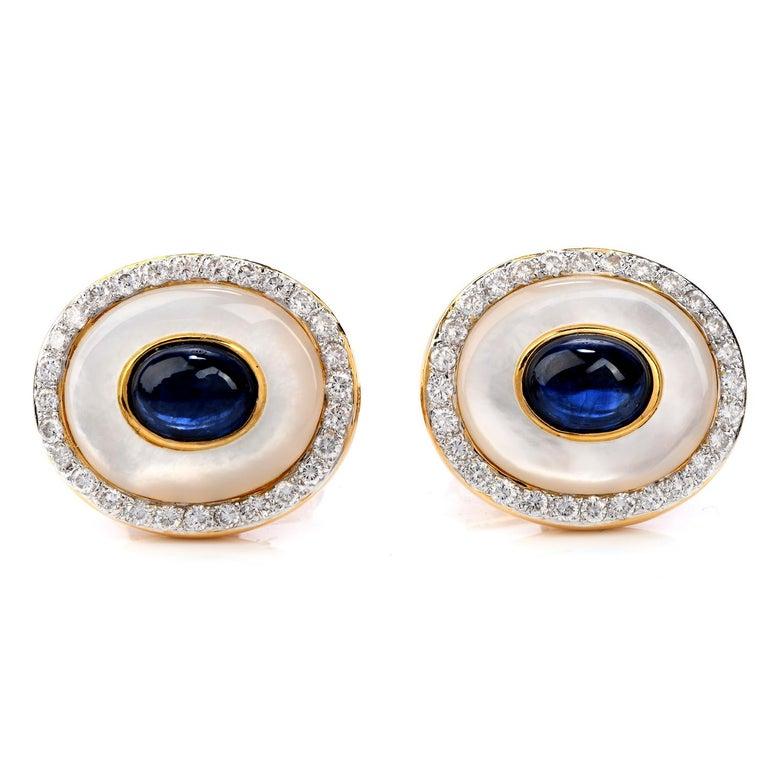 Retro LILI Diamond Sapphire Mother of Pearl 18 Karat Gold Men's Tuxedo Cufflink Set For Sale