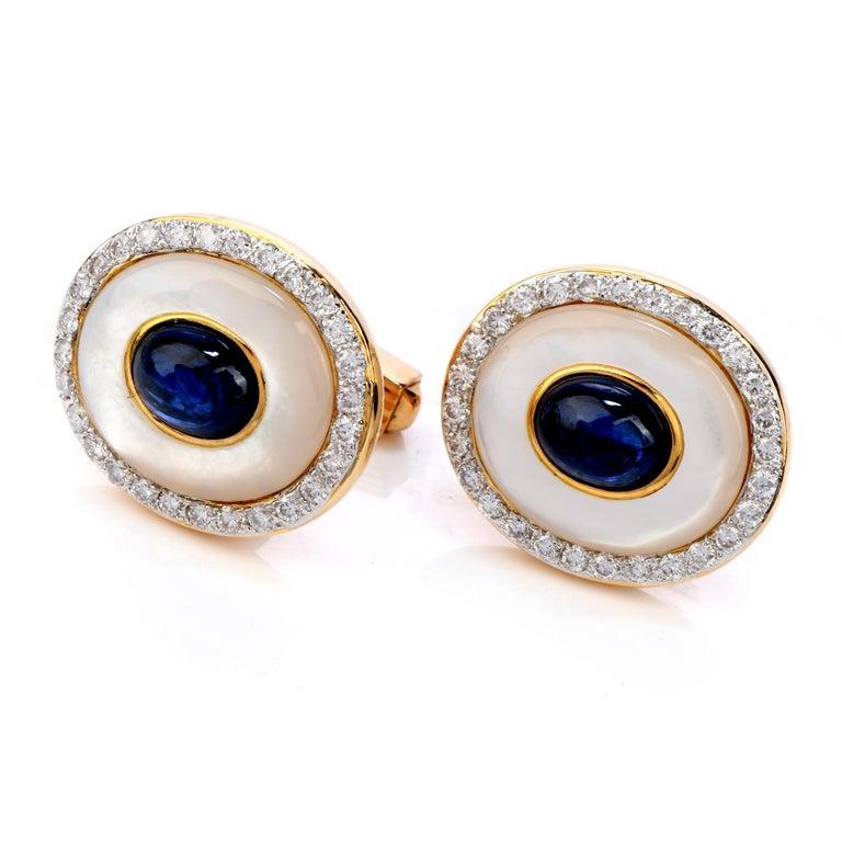 Cabochon LILI Diamond Sapphire Mother of Pearl 18 Karat Gold Men's Tuxedo Cufflink Set For Sale
