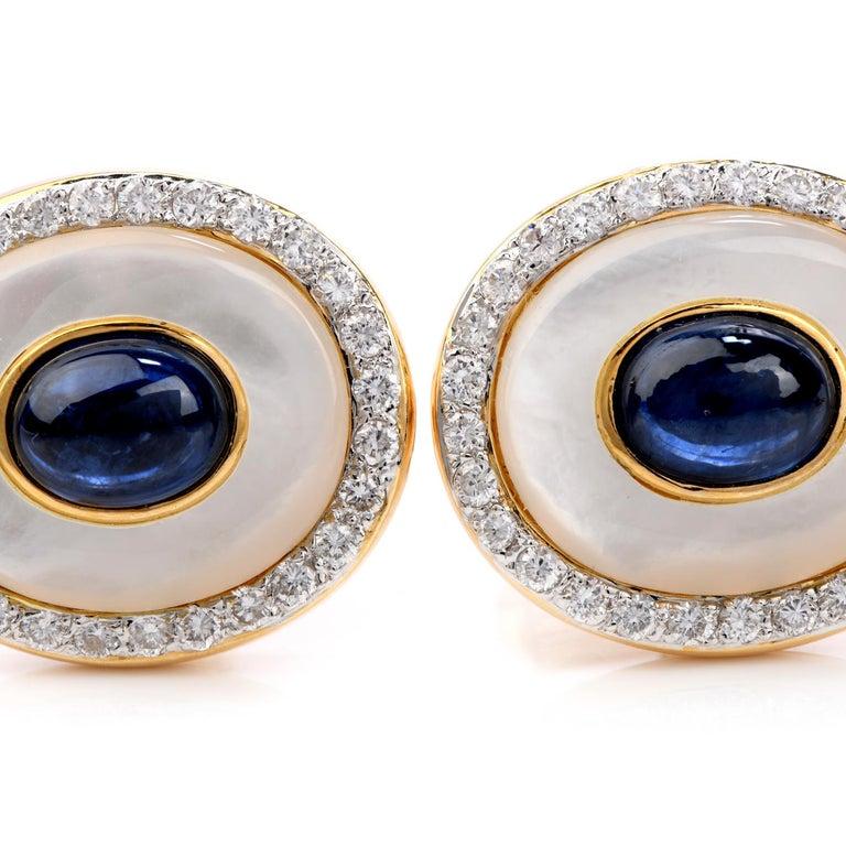 LILI Diamond Sapphire Mother of Pearl 18 Karat Gold Men's Tuxedo Cufflink Set For Sale 1